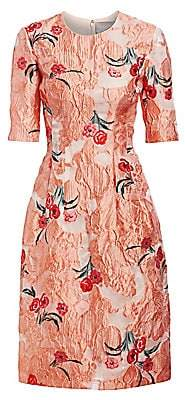 Lela Rose Women's Holly Elbow-Sleeve Floral A-Line Dress