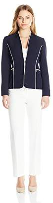 Tahari by Arthur S. Levine Women's Petite Size Crepe Pant Suit with Contrast Piping
