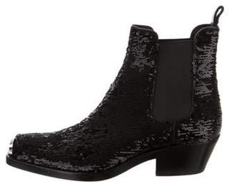 Calvin Klein Claire Sequin Square-Toe Ankle Boots Black Claire Sequin Square-Toe Ankle Boots