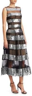 Oscar de la Renta Sequin Stripe A-Line Gown