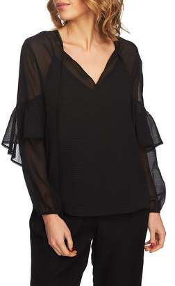1 STATE 1.STATE Sheer Tie Neck Blouse