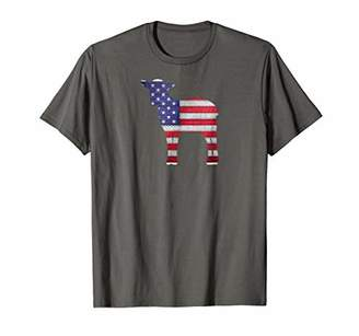 Patriotic Lamb American Flag Embroidery T-Shirt