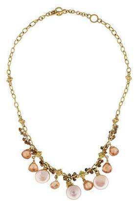 18K Pearl, Quartz, Diamond and Crystal Necklace