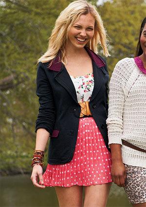 Coral Pleat Chiffon Skirt