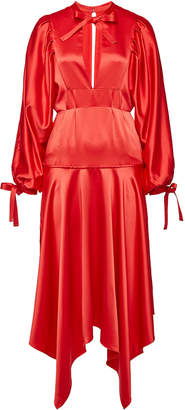 Self-Portrait Satin Dress with Self-Tie Bows