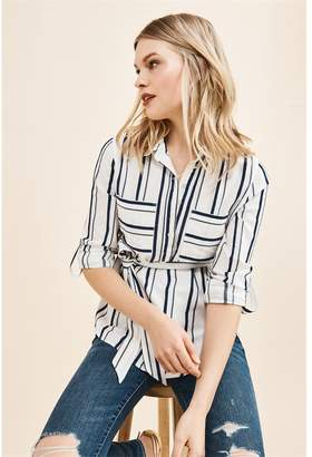Dynamite Belted Tunic Top - FINAL SALE White W/ Navy Stripes