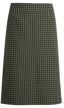 Mary Katrantzou Storm Checked Hound's Tooth Wool Blend Skirt - Womens - Green