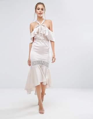 Dark Pink Satin Bardot Dress With Lace Insert $94 thestylecure.com