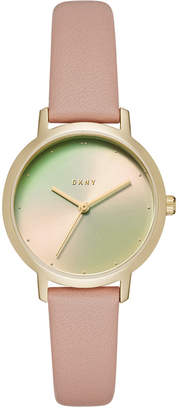 DKNY Women Modernist Pink Leather Strap Watch 32mm