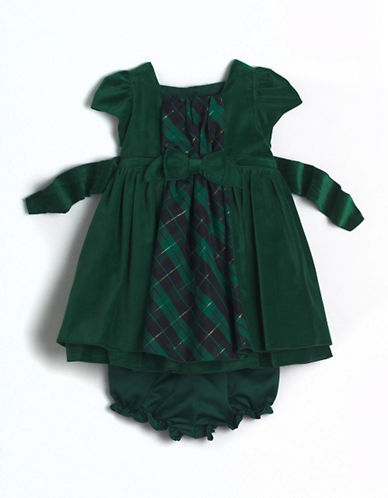 Laura Ashley Baby Girls Two-Piece Velvet Party Dress Set