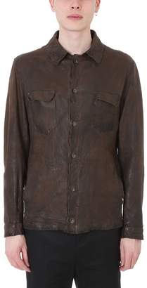 Salvatore Santoro Brown Leather Shirt Jacket