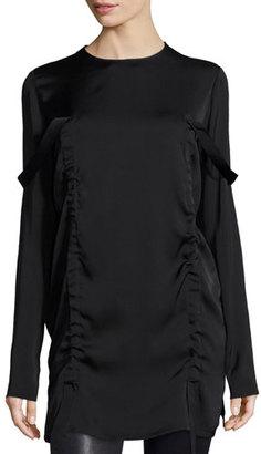 DKNY Long-Sleeve Stretch Silk Tunic, Black $298 thestylecure.com