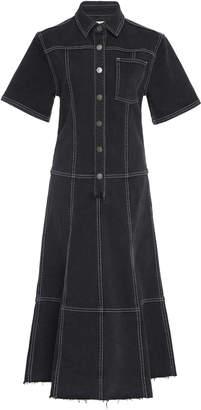 Proenza Schouler PSWL Short Sleeve Collared Denim Dress Size: 0