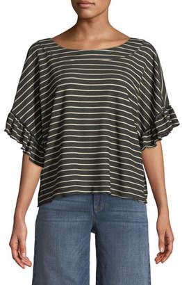 Ella Moss Reversible Striped Short-Sleeve Tie-Back Tee