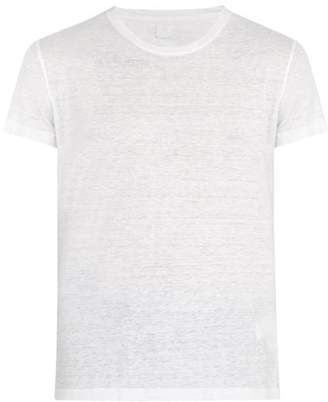 120% Lino Crew Neck Linen T Shirt - Mens - White