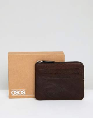 Asos DESIGN leather zip around wallet in vintage finish with cardholder slots