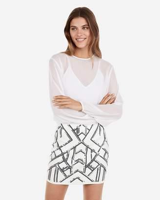 Express High Waisted Sequin Mini Skirt