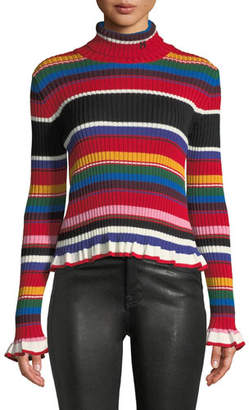 MSGM Striped Turtleneck Rainbow Ruffle Sweater