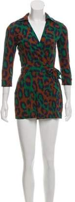 Diane von Furstenberg Long Sleeve Silk Romper Green Long Sleeve Silk Romper