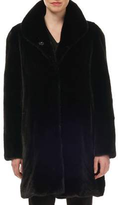 Gorski Mink Directional Reversible Silk Taffeta Stroller Coat