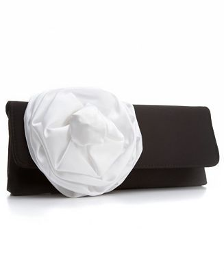 La Regale Handbag, Satin Large Flower Envelope Clutch