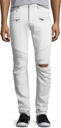Hudson Men's Blinder Biker Distressed Skinny Jeans, Extracted (White)