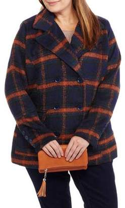 Maxwell Studio Women's Plus-Size Faux Wool Classic Plaid Double-Breasted Peacoat