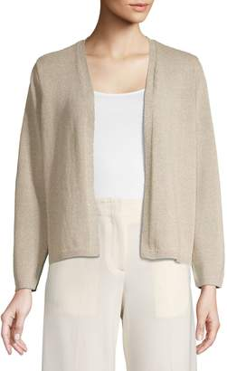 Eileen Fisher Heathered Cotton Blend Cropped Cardigan