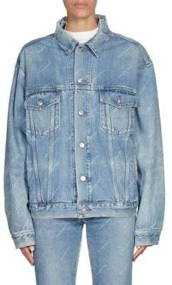 Balenciaga Ripped Denim Logo Jacket