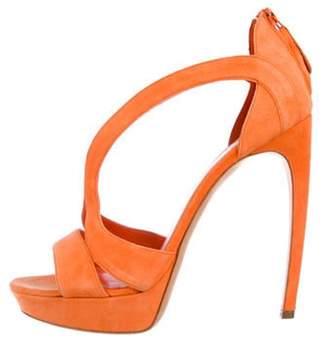Alexander McQueen Suede Platform Sandals Orange Suede Platform Sandals