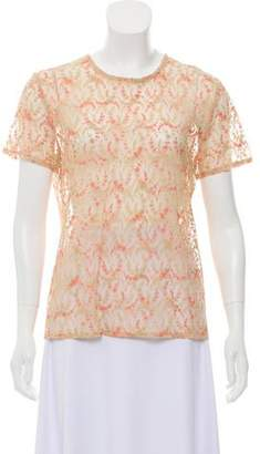 Yansi Fugel Embroidered Sheer Top