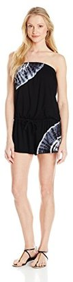Lucky Brand Women's Half Moon Tie-Dye Cover-Up Romper with Draw Cord $45.99 thestylecure.com