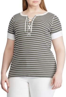 Lauren Ralph Lauren Plus Striped Lace-Up Knit Tee