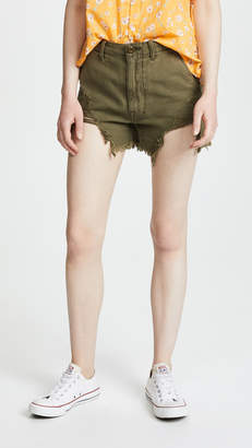 R 13 Distressed Camp Shorts
