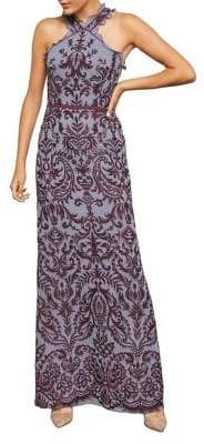 BCBGMAXAZRIA Embroidered Chiffon Halter A-Line Gown