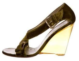 Giuseppe Zanotti Velvet Wedge Sandals