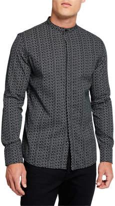 Karl Lagerfeld Paris Men's Allover Logo-Print Mandarin-Collar Sport Shirt