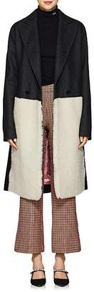 Cédric Charlier Women's Shearling-Inset Wool-Blend Coat