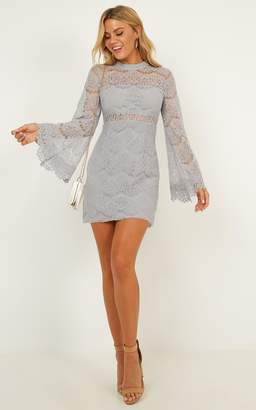 Showpo Never Start Dress in Grey Lace - 6 (XS) Party Dresses