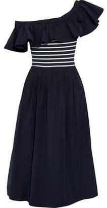Sea One-Shoulder Striped Intarsia-Paneled Twill Midi Dress