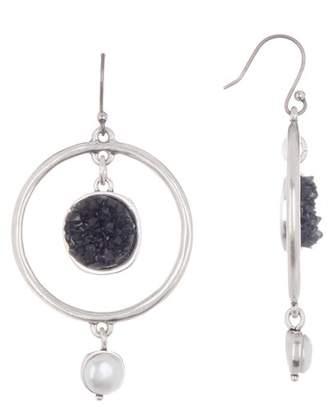 Lucky Brand Druzy & Pearl Drop Earrings