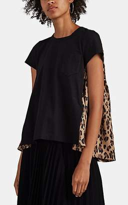 Sacai Women's Jersey & Leopard-Print Satin T-Shirt - Black Pat.