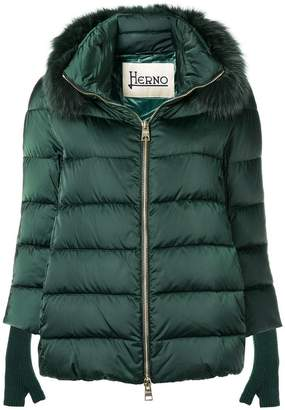 Herno padded jacket with fox fur