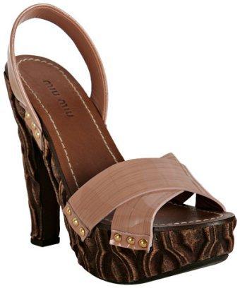 Miu Miu nude patent carved wooden platform sandals