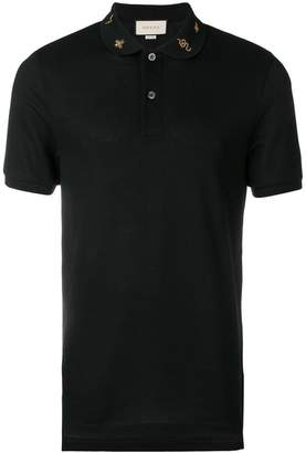 Gucci embroidered collar polo shirt