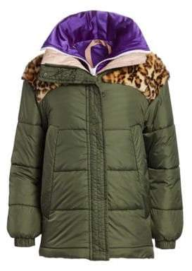 No.21 No. 21 Leopard Print Faux Fur Patch Puffer Jacket