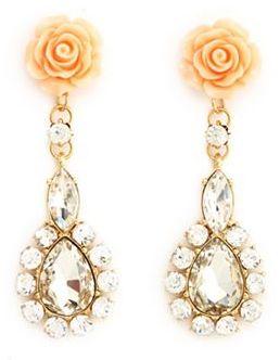 Charlotte Russe Rosette Teardrop Dangle Earrings