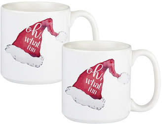 Cathy's Concepts Cathys Concepts Oh What Fun Santa Hat Large Coffee Mugs, Set of 2