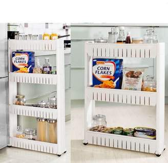 Qiilu Slim Storage Cart 3 Tier/4 Tier Mobile Shelving Unit Organizer Rolling Pull Out Cart Pantry Storage Rack For Narrow Spaces For Kitchen Bathroom Livingroom