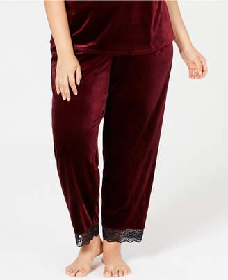INC International Concepts I.n.c. Plus Size Lace-Trim Velvet Pajama Pants